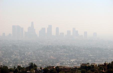 los angeles downtown skyline smog air quality