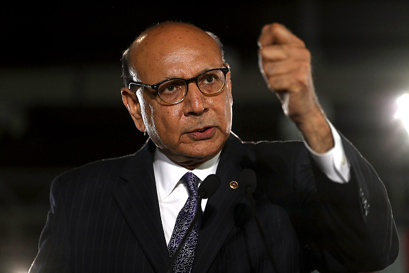 Khizr Khan speaks during a campaign rally with Democratic presidential nominee former Secretary of State Hillary Clinton at The Armory on November 6, 2016 in Manchester, New Hampshire.
