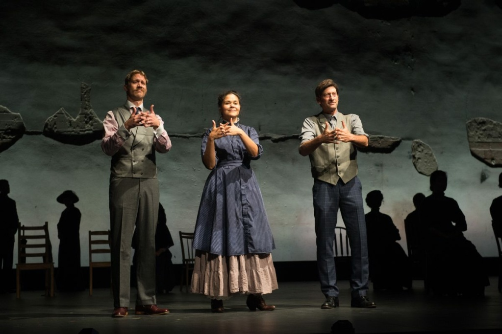 (L-R) Russell Harvard, Alexandria Wailes and Troy Kotsur are deaf actors who play featured roles in the Pasadena Playhouse production of