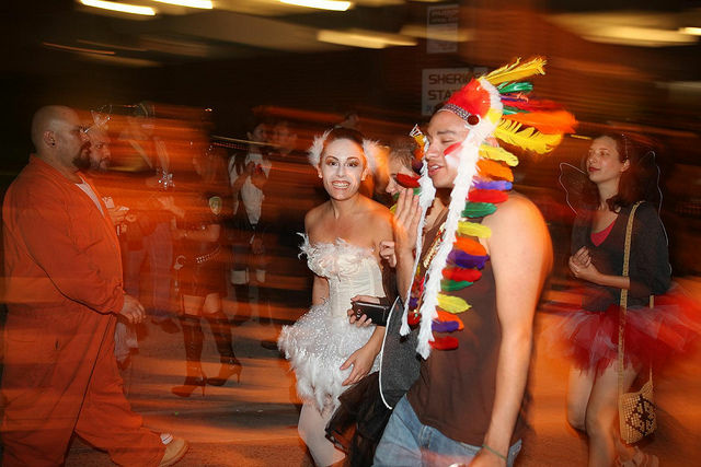 Two partygoers walk down Santa Monica Blvd. during the West Hollywood Halloween Costume Carnaval, October 31, 2011.