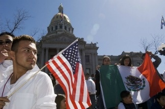 Immigrant rights demonstrators on the steps of the Colorado state Capitol. As immigrant networks have spread out in recent decades, parts of the U.S. far beyond urban centers and traditional receiving states have become increasingly diverse.