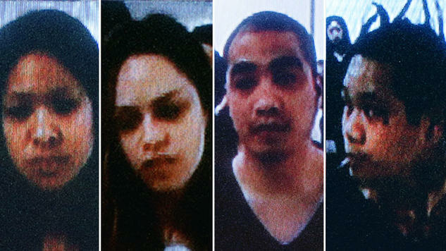Police identified the suspects in a Northridge quadruple murder as Donna Rabulan, 30, of L.A.; Christina Neal, 31, of L.A.; Howard Alcantara, 30, of Glendale; and Ka Pasasouk, 31, of L.A. The foursome is seen here during an extradition hearing in Las Vegas.