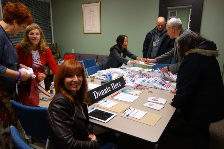 Marianne Williamson is running for Congress as an independent. As seen at this February town hall in Rancho Palos Verdes, her campaign logo is an American flag with peace doves as the stars.
