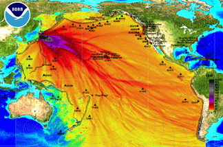 In this handout image provided by the National Oceanic and Atmospheric Administration, model amplitudes calculated with the MOST forecast model are seen March 11, 2011. Filled colors show maximum computed tsunami amplitude in cm during 24 hours of wave propagation. Black contours show computed tsunami arrival time. A magnitude 8.9 strong earthquake hit the northeast coast of Japan causing Tsunami alerts throughout countries bordering the Pacific Ocean.