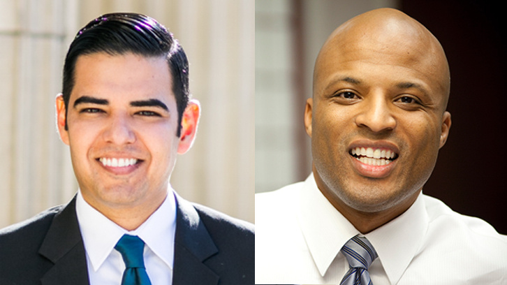 Long Beach Vice Mayor Robert Garcia, left, and businessman Damon Dunn, right, are on tomorrow's ballot in the runoff for mayor of Long Beach.