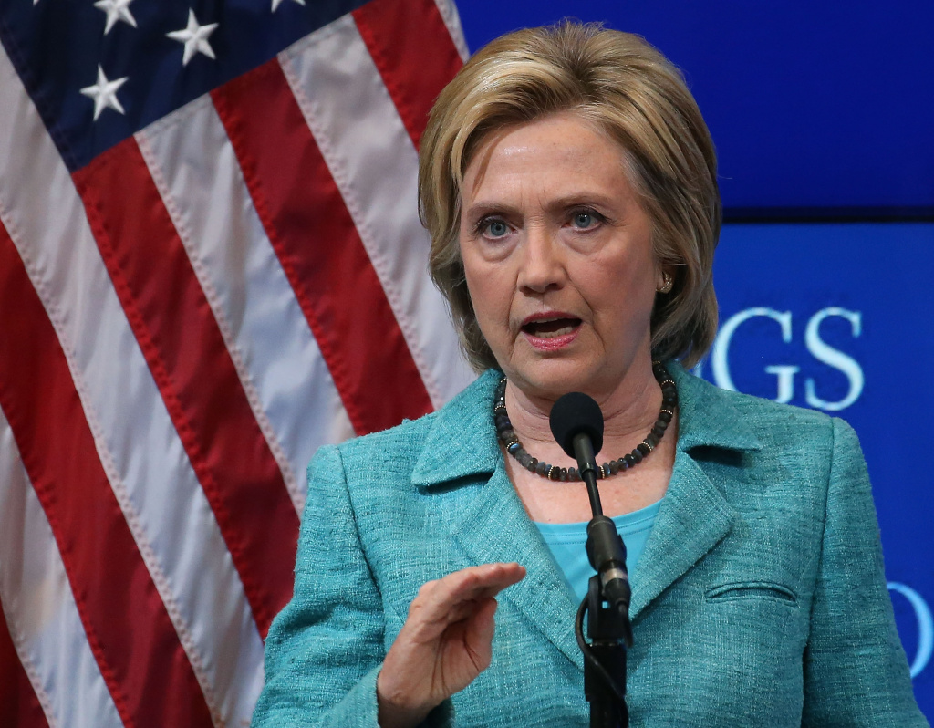 WASHINGTON, DC - SEPTEMBER 09: Former Secretary of State and Democratic presidential candidate Hillary Clinton speaks about Iran at the Brookings Institute September 9, 2015 in Washington, DC. (Photo by Mark Wilson/Getty Images)