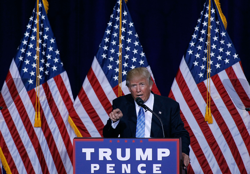 FILE: Republican presidential nominee Donald Trump speaks during a campaign rally on August 31, 2016 in Phoenix, Arizona.