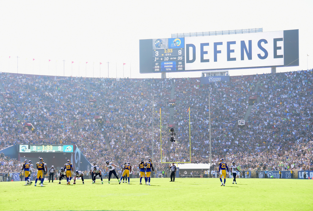 A general view of the home opening NFL game as the Los Angeles Rams play the Seattle Seahawks at Los Angeles Coliseum on Sept. 18, 2016.