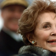 Nancy Reagan looks during speeches at the christening ceremony of the aircraft carrier USS Ronald Reagan at Newport News Shipbuilding Yard in Newport News, Virginia, 04 March 2001.