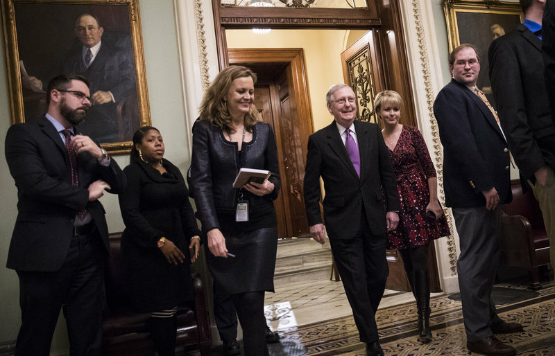 Senate Majority Leader Mitch McConnell, R-Ky., leaves the Senate floor on Monday after the Senate passed a continuing resolution to fund the federal government. The House followed suit, and the government is expected to reopen on Tuesday.