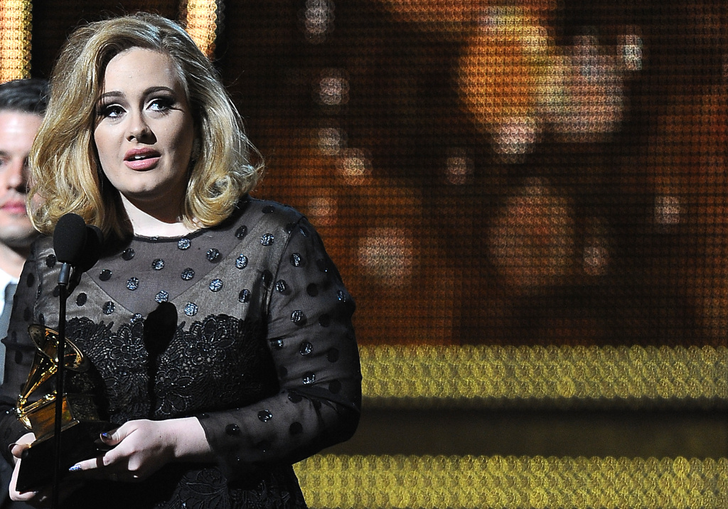 Adele addresses the audience after receiving her fifth trophy during the 54th Grammy Awards at the Staples Center  in Los Angeles, California, February 12, 2012.