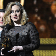 Adele addresses the audience after recei
