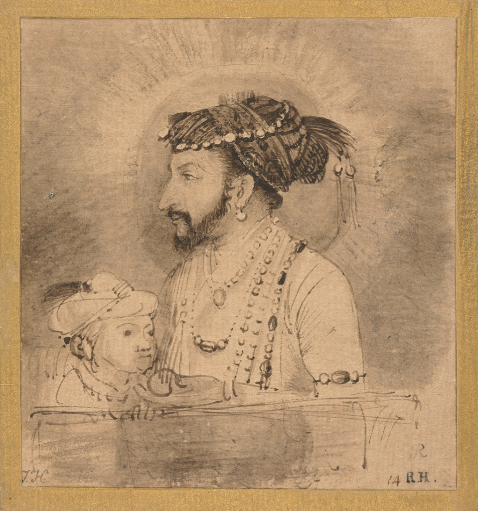 Shah Jahan and his Son, about 1656–61, Rembrandt Harmensz. van Rijn. Brown ink and brown wash with scratching out on Asian paper toned with light brown wash.