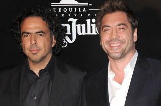 Writer/director Alejandro Gonzalez Inarritu (left) and actor Javier Bardem arrive at Los Angeles premiere of 'Biutiful' at DGA Theater on Dec. 14, 2010 in Los Angeles.
