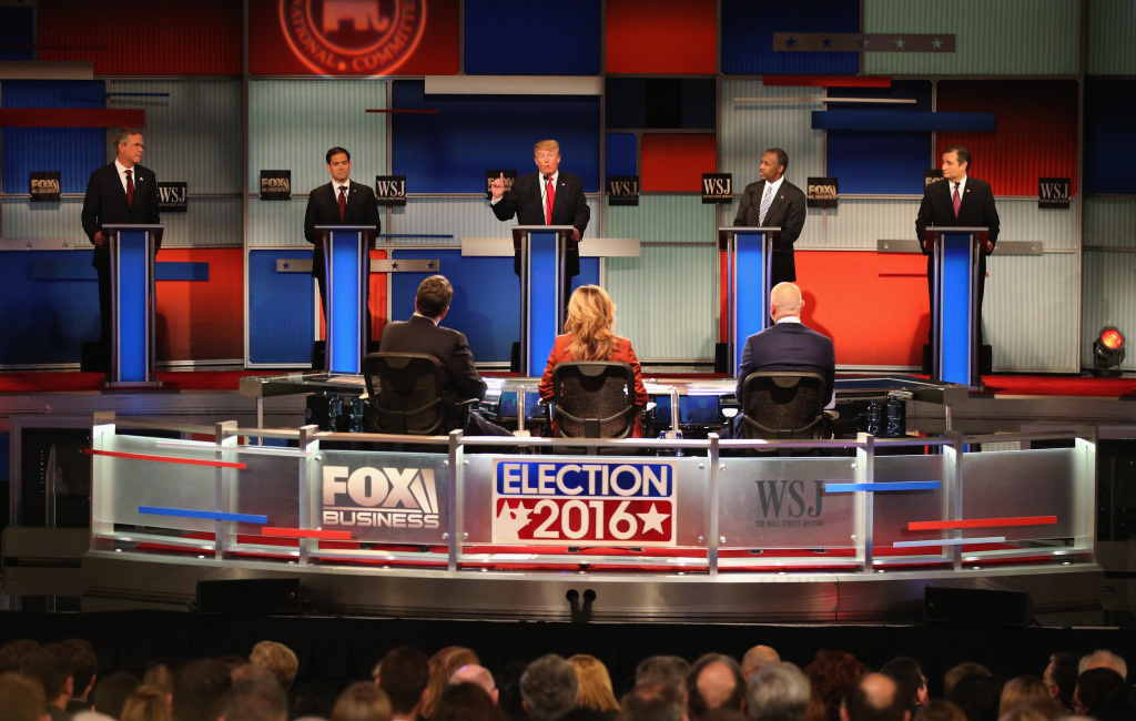 Presidential candidate Donald Trump (3th L) speaks while Jeb Bush, Sen. Marco Rubio (R-FL), Ben Carson, and Ted Cruz (R-TX)  take part in the Republican Presidential Debate.