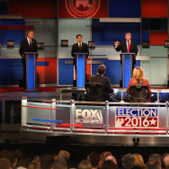 Presidential candidate Donald Trump (3th L) speaks while Jeb Bush, Sen. Marco Rubio (R-FL), Ben Carson, and Ted Cruz (R-TX)  take part in the Republican Presidential Debate.