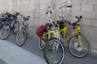 Bikes, lined up against the wall, are set to be ridden in the First Friendship Bike Ride in El Sereno on Sunday, Feb. 14, 2010.