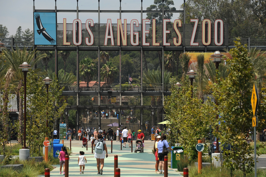 Visitors arrive at the main entrance to the Los Angeles Zoo in Los Angeles, California August 12, 2011.  The Los Angeles City Council voted today to pursue plans leading to a possible privatization of the zoo, an idea described by its chief advocate as ``the only model'' available to the cash-strapped city if it wishes to keep the attraction open. City officials say the change would save nearly $20 million over the next five years but opponents of the plan question the savings and warn that privatization could mean steeper ticket prices for the zoo's 1.5 million annual visitors and less transparency when it comes to animal welfare.
