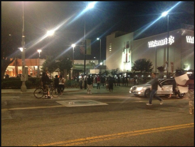 Police officers arrested 13 protestors in Leimert Park after a rally for Trayvon Martin escalated on July 15th, 2013.