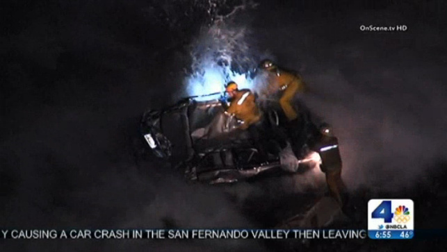Car Over Cliff in Palos Verdes Estates