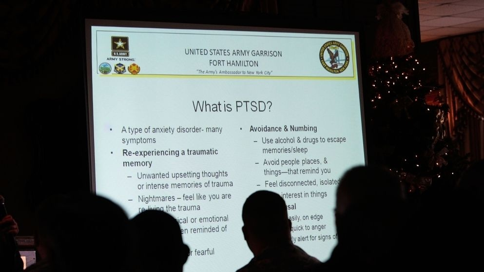 Here, military personnel attend a presentation on PTSD at Fort Hamilton Army Garrison in Brooklyn, N.Y., in December 2009.