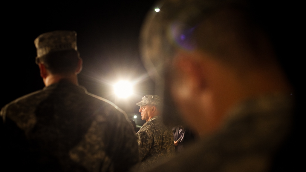 Lt. Gen. Mark Milley speaks to reporters April 2 regarding the second shooting in five years on the Fort Hood Army post in Texas.