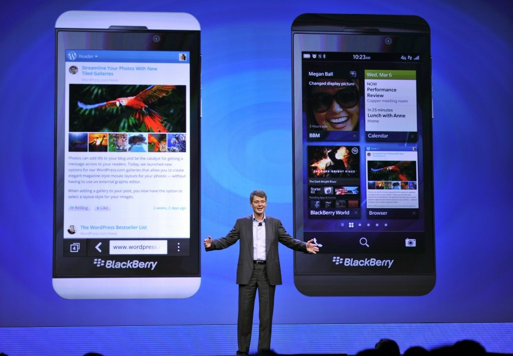 File: Blackberry CEO Thorsten Heins officially unveils the BlackBerry 10 mobile platform as well as two new devices January 30, 2013 at the New York City Launch at Pier 36.