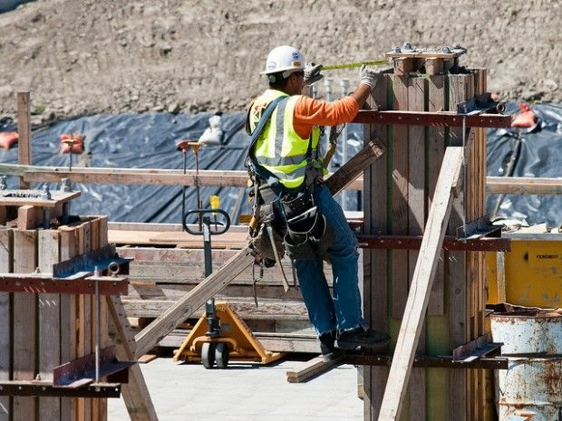 A construction worker on the job at a site in Seattle, July 2010