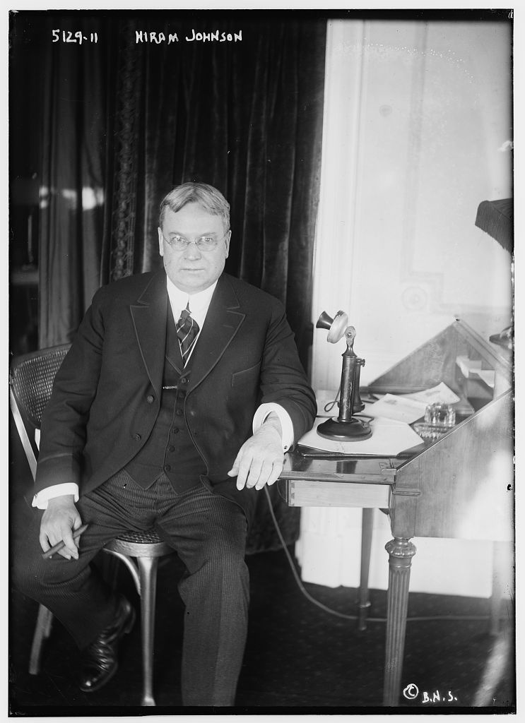 Hiram Johnson was governor of California between 1911 and 1917.