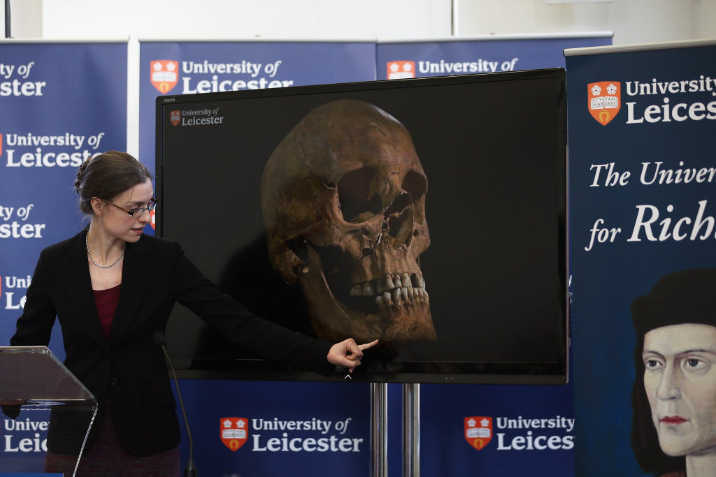 Dr. Jo Appleby speaks during a press conference at University Of Leicester as archaeologists announce whether the human remains found in Leicester are those of King Richard III on February 4, 2013 in Leicester, England. The University of Leicester has been carrying out scientific investigations on remains found in a car park to find out whether they are those of King Richard III since last September, when the skeleton was discovered in the foundations of Greyfriars Church, Leicester.