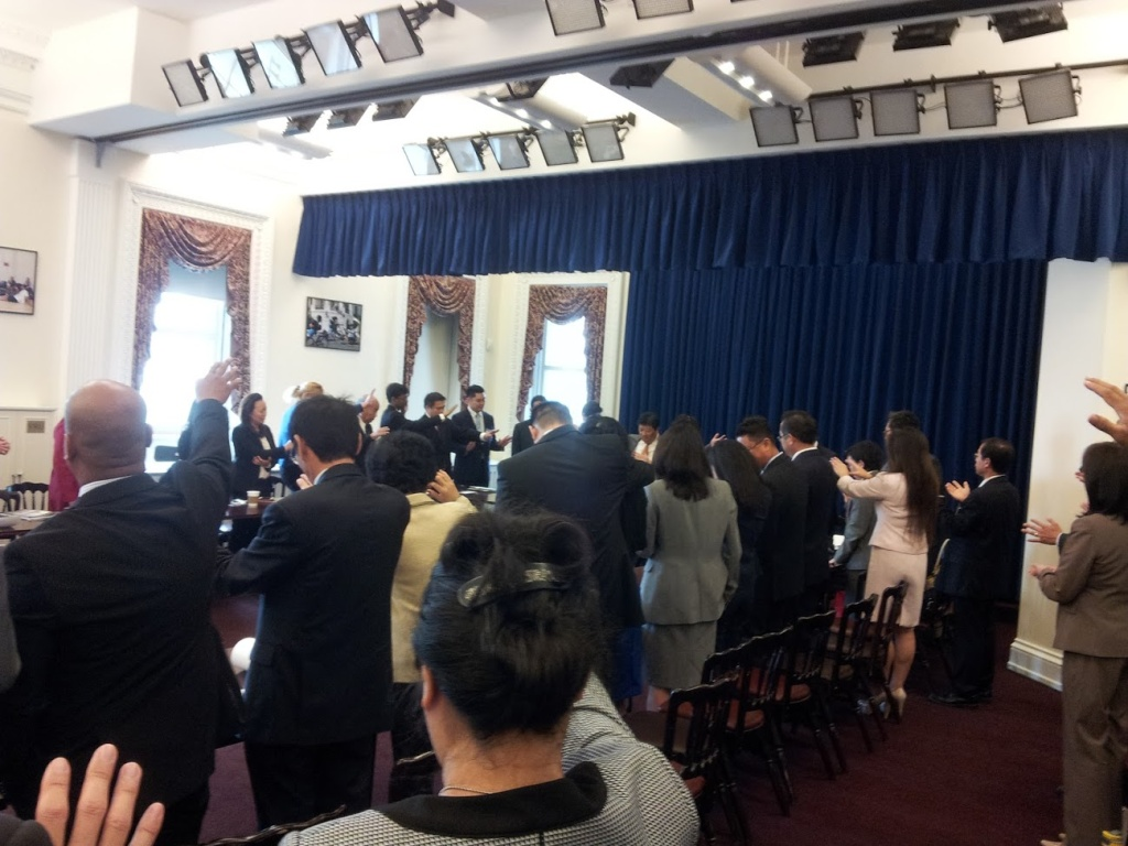 Asian Pacific American Christian leaders pray at an event at U.S. Capitol for the 9th Annual Lighting the Community Summit, Washington DC. June 2016.