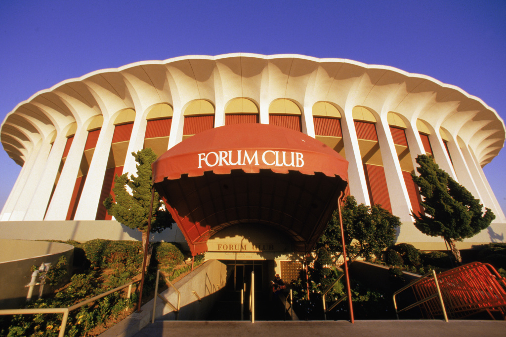 A general view of exterior of The Great Western Forum taken during the 1987 season in Inglewood, California.