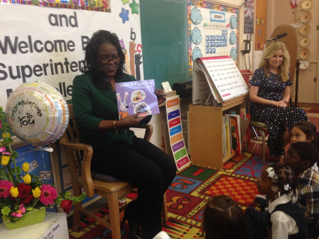L.A. Unified Superintendent Michelle King reads to first graders at Century Park Elementary School.