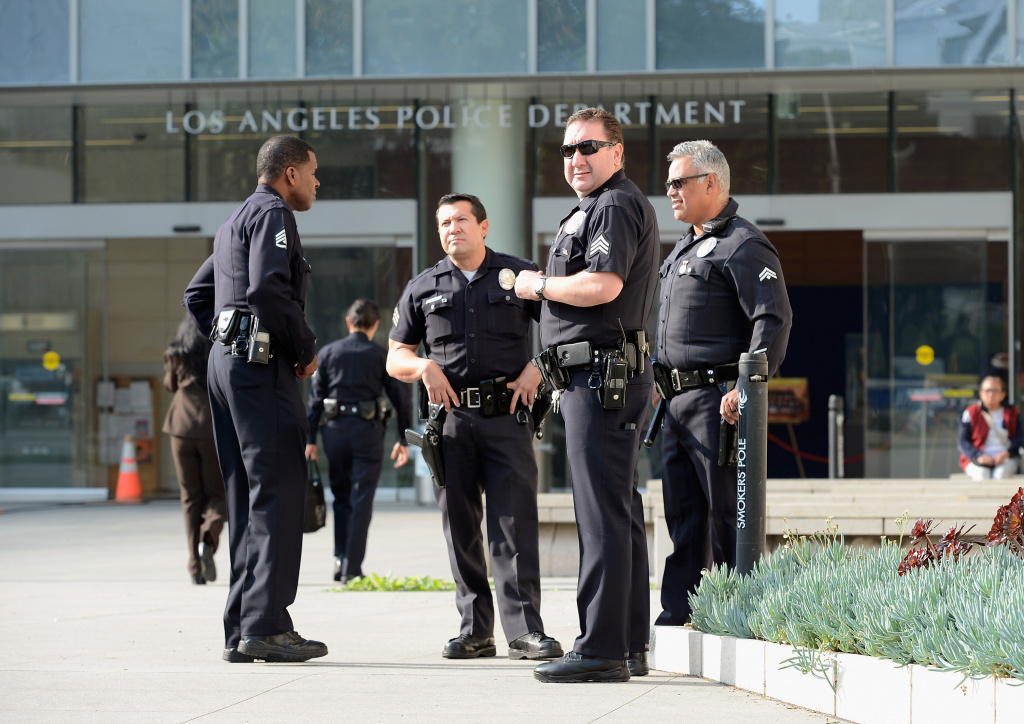 LAPD officers deployed around police headquarters in Los Angeles.