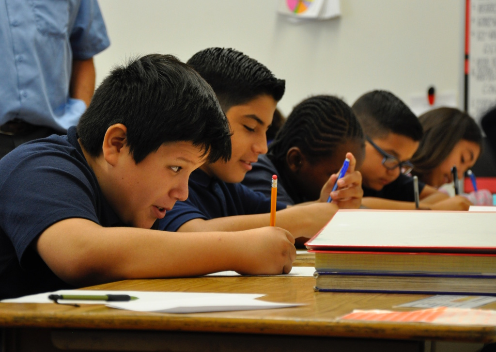Students at Leland Street Elementary School in Los Angeles' San Pedro neighborhood work on a writing assignment on Aug. 21, 2017.