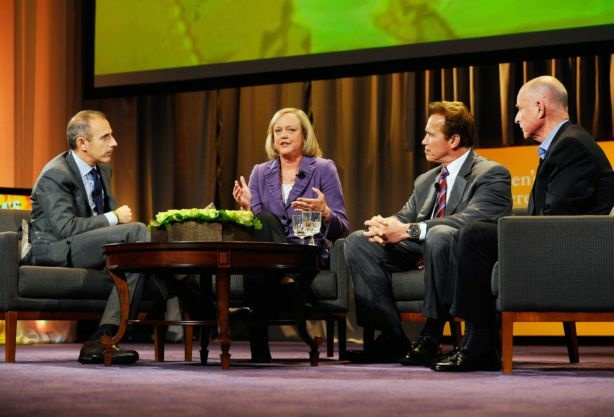 Republican gubernatorial candidate and former eBay CEO Meg Whitman (2nd-L) speaks as California Gov. Arnold Schwarzenegger (2nd-R) and California attorney general and Democratic candidate for governor Jerry Brown (R) look on during a discussion moderated by 'Today' show host Matt Lauer (L) during the Women's Conference 2010 on October 26, 2010 at the Long Beach Convention Center in Long Beach,