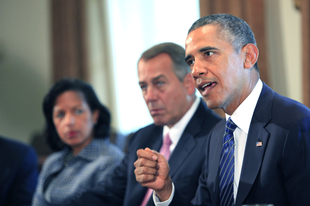 U.S. President Barack Obama (R) meets with members of Congress in the cabinet room of the White House on September 3, 2013 in Washington, DC. Obama is urging Congress to authorize military action against Syria and has won the support of House Speaker John Boehner (C).
