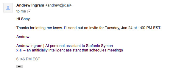 Even though you know you're talking to a bot, it's hard to avoid imagining a human behind this scheduling email.