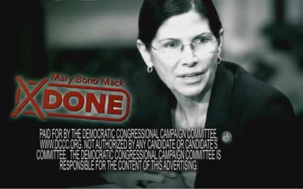 A screen capture of a Democratic Committee television advertisement against Republican U.S. representative Mary Bono Mack. Both political parties have allotted $9 million to California races, including advertisements like this one.