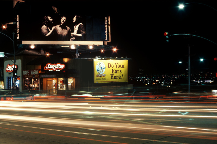 Crosby Stills and Nash billboard on the Sunset Strip, circa 1977.