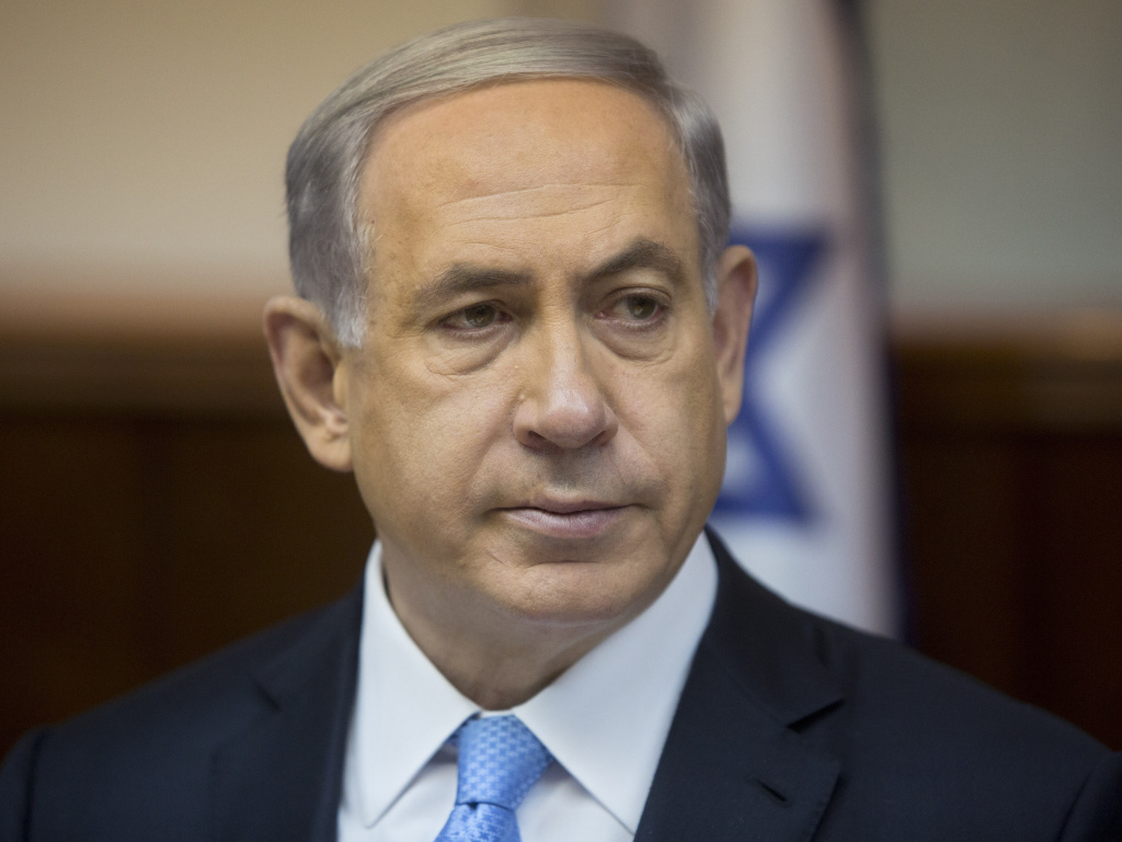 Israeli Prime Minister Benjamin Netanyahu attends the weekly Cabinet meeting in his Jerusalem office on Feb. 8.