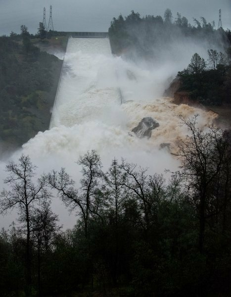 Slideshow: Slideshow: Water flowing over emergency spillway