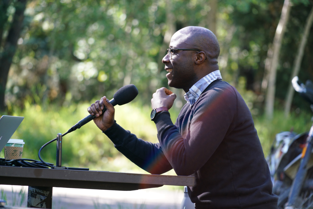 "Filmmaker Barry Jenkins at the 43rd annual Telluride Film Festival with his film ""Moonlight."""
