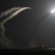 A handout picture released by the U.S. Navy shows the guided-missile cruiser USS Philippine Sea (CG 58) launching a Tomahawk cruise missile against Islamic State targets in Syria on Tuesday.