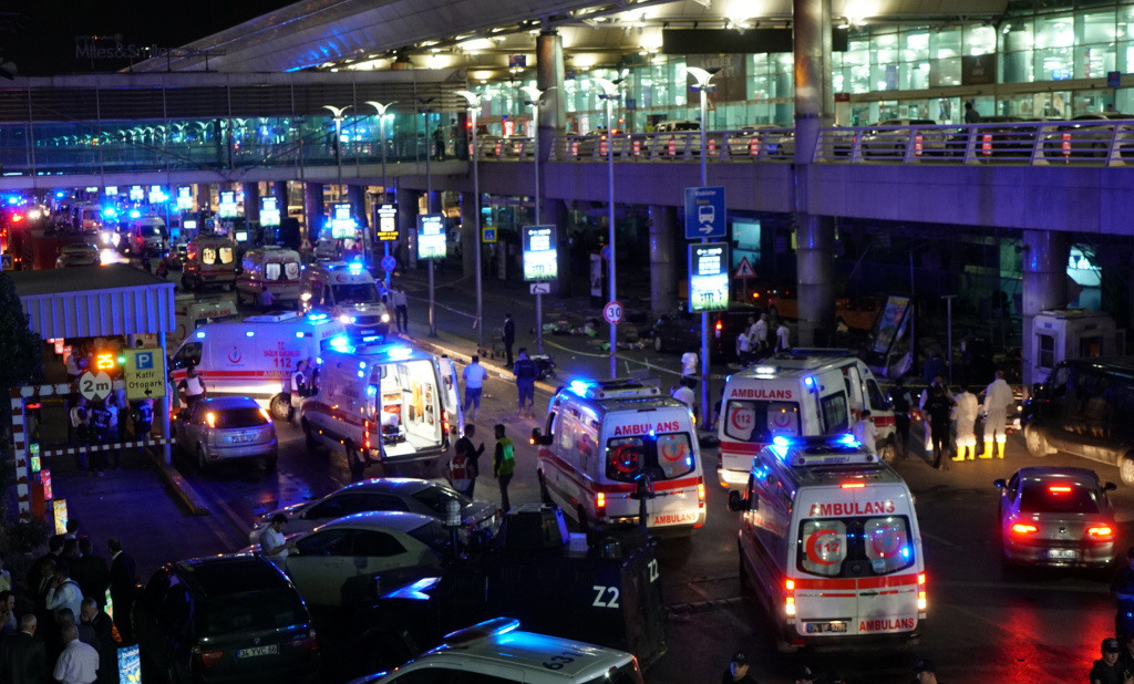 Security and ambulances block the road outside Turkey's largest airport, Istanbul Ataturk, after it was hit by a suicide bomb attack on June 28, 2016, Turkey.