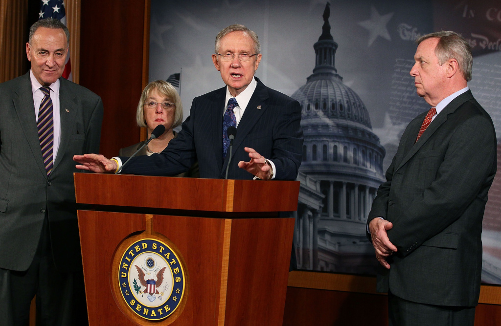 Sen. Charles Schumer (D-NY), Sen. Patty Murray (D-WA), Senate Majority Leader Harry Reid (D-NV) and Sen. Richard Durbin (D-IL) participate in a news conference on March 8, 2012 in Washington, DC. Senator Reid talked about the disagreement with Republicans over the pending highway bill.