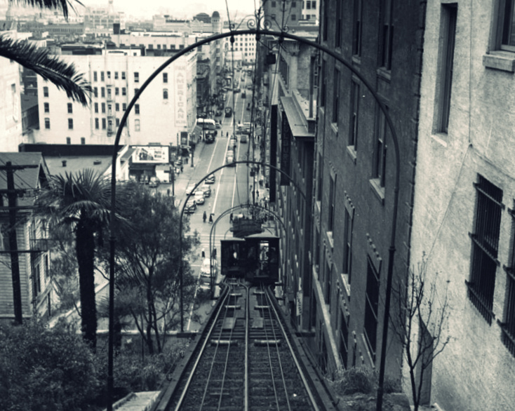 An undated view of Angels Flight, the historic funicular the climbs to Bunker Hill in downtown LA.