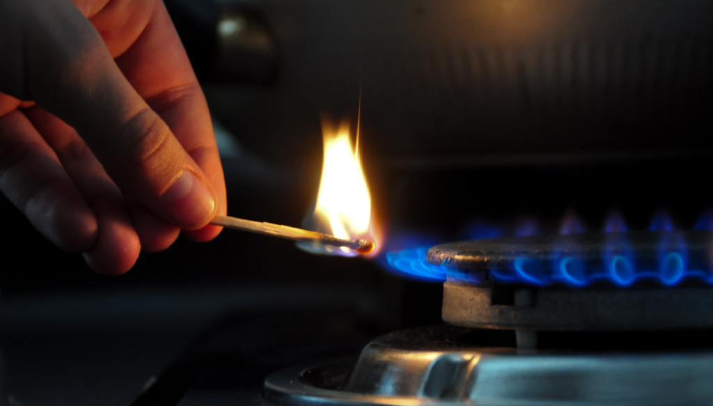 Lighting a domestic gas hob in Santiago, Chile, October 19, 2012.