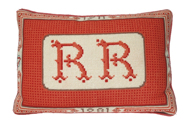 A needlepoint pillow. This will be offered in The Private Collection of President and Mrs. Ronald Reagan, Sept. 21-22 at Christie's in New York.
