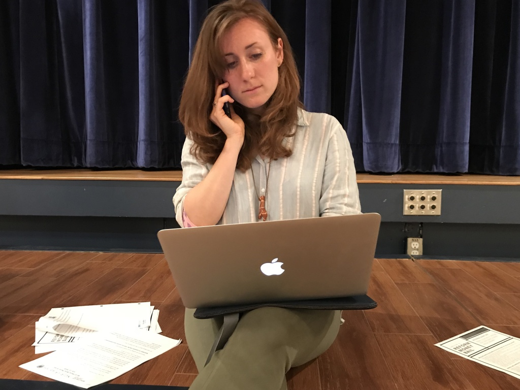 Staci Steinberger works her second night of phone-banking in support of Senate Bill 10, which aims to eliminate the use of cash bail in California.